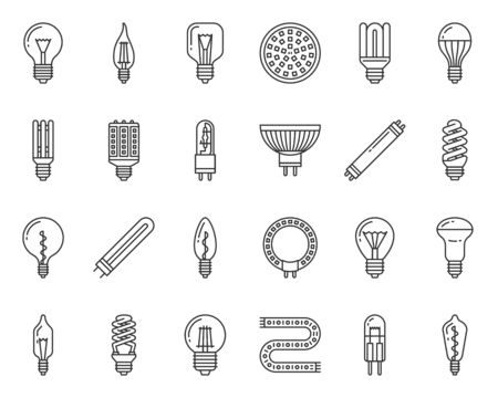 Light Bulb thin line icons set. Outline sign kit of glass lamp. Linear icons of idea, halogen, fluorescent light bulb, electricity power. Glow simple black contour symbol on white. Vector Illustration