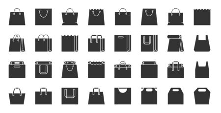 Shopping Bag silhouette icons set. Web sign kit of package. Sale pictogram collection includes pouch, merchandise, market. Simple plastic handbag black symbol on white. Vector Icon shape for stamp