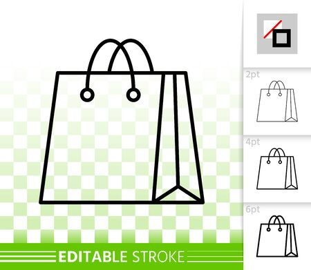 Shopping Bag thin line icon. Outline web package sign. Sale linear pictogram with different stroke width. Simple vector symbol, transparent background. Fashion packet editable stroke icon without fill