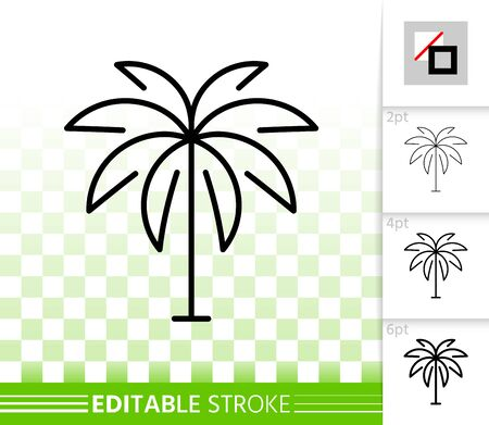 Geometric Tree thin line icon. Outline web sign of date palm. Coconut linear pictogram with different stroke width. Simple vector transparent symbol. Growth plant editable stroke icon without fill
