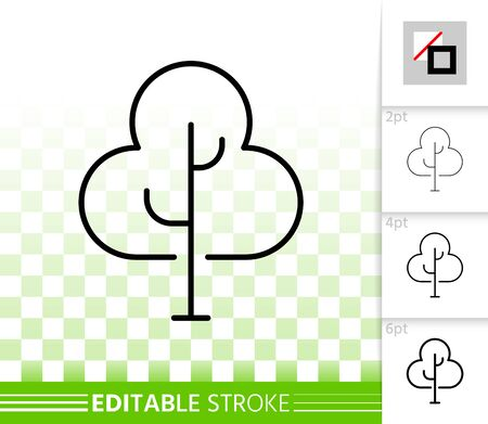 Geometric Tree thin line icon. Outline sign of abstract sapling. Birch linear pictogram with different stroke width. Simple vector transparent symbol. Growth plant editable stroke icon without fill