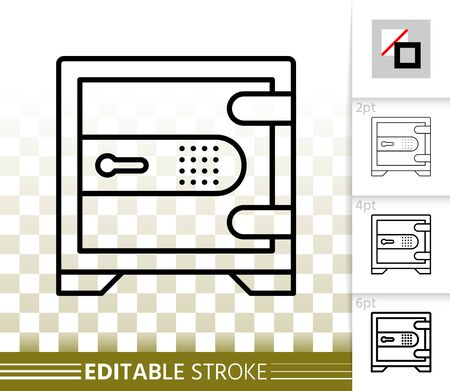 Safe thin line icon. Outline web sign of bank cell. Keep Money linear pictogram with different stroke width. Simple vector symbol, transparent background. Code lock editable stroke icon without fill