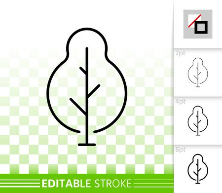 Geometric Tree thin line icon. Outline sign of abstract sapling. Poplar linear pictogram with different stroke width. Simple vector transparent symbol. Growth plant editable stroke icon without fill Иллюстрация