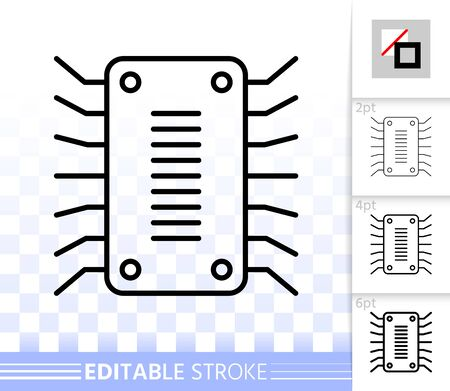 Microchip thin line icon. Outline sign of cpu. Microprocessor linear pictogram with different stroke width. Simple vector symbol, transparent background. Иллюстрация