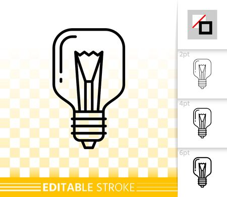 Light Bulb thin line icon. Outline web sign of glass lamp. Light bulb linear pictogram with different stroke width. Simple vector transparent symbol. Electric power editable stroke icon without fill