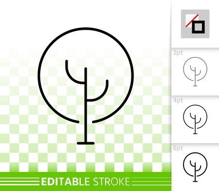 Geometric Tree thin line icon. Outline web sign of abstract sapling. Birch linear pictogram with different stroke width. Simple vector transparent symbol. Eco plant editable stroke icon without fill
