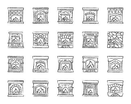 Fireplace charcoal icons set. Grunge outline sign kit of christmas time. Open Fire linear icons of stone burning firewood, glowing log. Hand drawn simple fireplace symbol on white. Vector Illustration Illustration