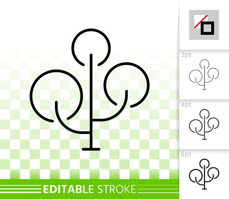 Maple thin line icon. Outline web sign of chestnut. Bonsai linear pictogram with different stroke width. Simple vector symbol, transparent background. Summer park editable stroke icon without fill Иллюстрация