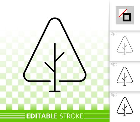 Geometric fir tree thin line icon. Outline sign of abstract sapling. Eco plant linear pictogram with different stroke width. Simple vector transparent symbol. Spruce editable stroke icon without fill Иллюстрация