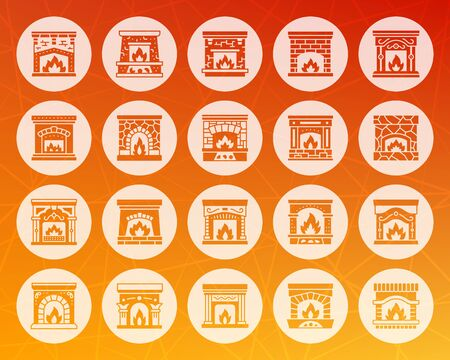 Fireplace icons set. Web sign christmas time kit. Open Fire pictogram collection warm home, living room, cosy house interior. Simple vector symbol. Icon shape carved from circle on colorful background