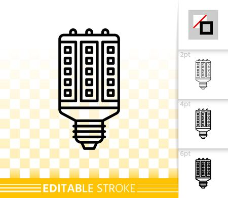 Light Bulb thin line icons. Outline web sign of LED lamp. Fluorescent glow linear pictogram with different stroke width. Simple vector transparent symbol. Eco energy editable stroke icon without fill