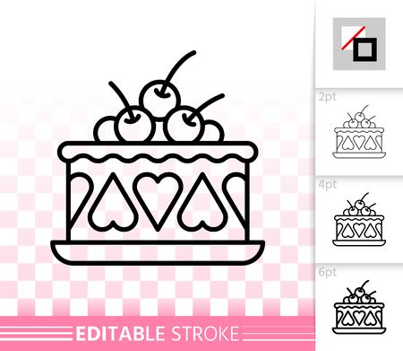 Cherry Cake thin line icon. Outline sign of sweet dessert. Strawberry Cream linear pictogram with different stroke width. Simple vector transparent symbol. Delicious editable stroke icon without fill
