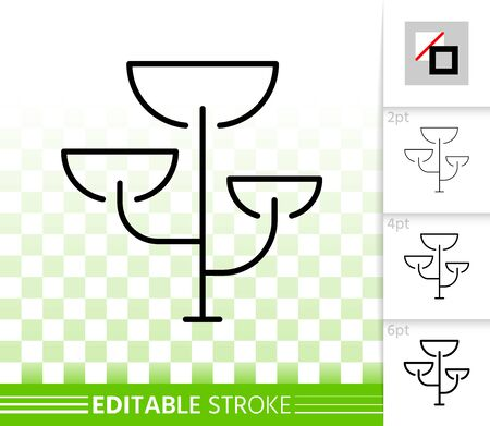 Bonsai thin line icon. Outline sign of acacia. Cedar linear pictogram with different stroke width. Geometric tree simple vector symbol, transparent background. Bonsai editable stroke icon without fill Иллюстрация