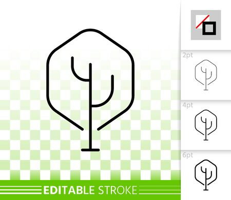 Geometric Tree thin line icon. Outline sign of abstract sapling. Maple linear pictogram, different stroke width. Simple vector transparent symbol. Botanical garden editable stroke icon without fill