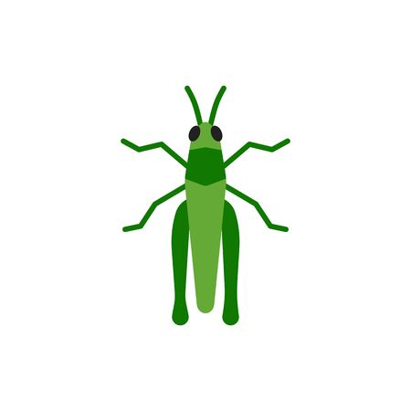 Grasshopper single flat icon. Insect simple sign in cartoon style. Cricket Bug pictogram Wildlife symbol.