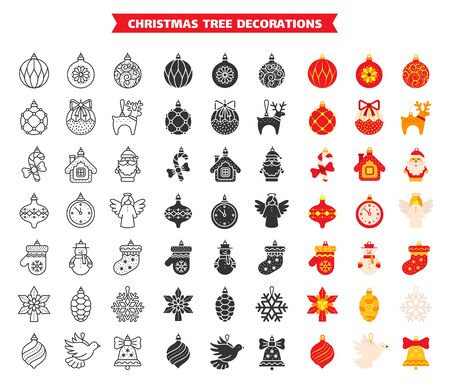 Christmas Tree decoration bundle in line, flat, fill and glyph style. Black, color symbol xmas decor. Ball simple sign set. Outline clipart collection. Isolated on white icons. Vector illustration