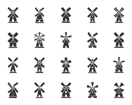 Windmill silhouette icons set. Grain flour mill symbol, simple shape pictogram collection. Farm wind house design element. Bakery flat black sign. Isolated on white icon concept vector illustration