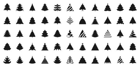 Christmas tree silhouette icons set. Xmas symbol, simple pictogram collection. Winter season stamp stencil design element. New year flat glyph black sign Isolated xmas icon concept vector illustration