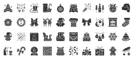 Christmas and New year flat glyph silhouette icons set. Xmas symbol, simple shape pictogram collection. Winter season design element. Holiday black stamp sign isolated icon concept vector illustration