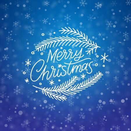 Merry christmas hand drawn lettering banner. Winter abstract blue background. Snowflakes Xmas template card, poster, banner. New year happy season design Concept backdrop Holidays vector illustration