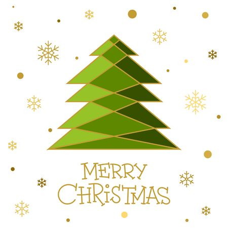 Merry Christmas greeting flat illustration and text concept card. Winter holiday poster design. Christmas tree, gold snowflakes cute color banner. Xmas lettering Vector wishing inscription postcard