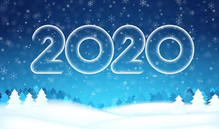2020 number text happy New year banner. Winter abstract blue snow, christmas tree background. Xmas template card, poster. Happy season design wallpaper. Concept backdrop. Holidays vector illustration
