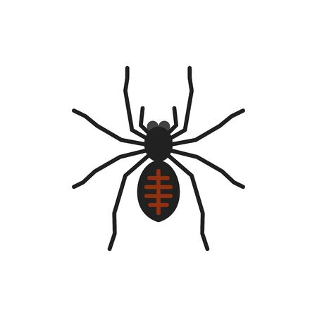 Spider single flat icon. Insect simple sign in cartoon style. Tarantula pictogram Wildlife symbol. Entomology closeup color vector illustration isolated on white.