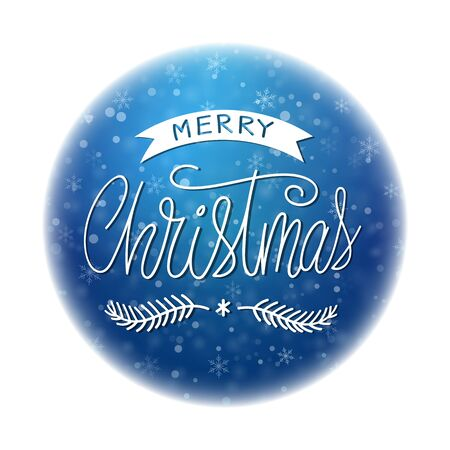 Merry christmas hand drawn lettering round design. Winter abstract typography text inscription. Xmas template card, ball poster New year season concept blue 3d snow planet Holidays vector illustration  イラスト・ベクター素材