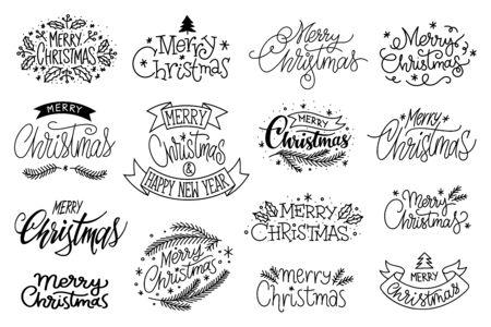 Joyeux Noël ensemble de bannières de lettrage dessinés à la main. Emblème de la typographie. Conception de carte d'inscription de calligraphie de texte. Modèle d'affiche de vacances d'hiver. Souhaitant carte postale manuscrite. Illustration vectorielle isolé