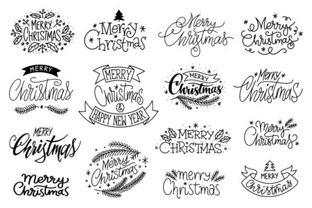 Merry christmas hand drawn lettering banner set. Typography emblem. Text calligraphy inscription card design. Winter holiday poster template. Wishing handwritten postcard. Isolated vector illustration  イラスト・ベクター素材