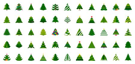 Christmas Tree flat icon set. Stylized spruce winter sign kit. Fir color pictogram decorated garland, gift box, pine. Simple cartoon icons. Xmas, New year symbol. Isolated on white vector Illustration