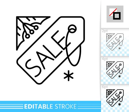 Winter season sale, christmas time, new year clearance line single icon. Linear label tag banner, badge editable stroke sign. Outline special offer symbol. Simple vector illustration isolated on white  イラスト・ベクター素材