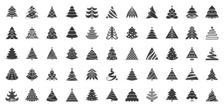 Christmas Tree flat glyph icons set. Xmas symbol, simple pictogram collection. Winter season design element. New year silhouette black sign. Isolated on white xmas icon concept vector illustration  イラスト・ベクター素材