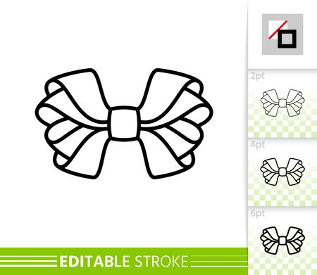 Bow single thin line icon. Ribbon banner. Gift design, present decoration. Tie linear pictogram. Simple illustration, outline symbol. Vector sign isolated on white. Editable stroke icons without fill