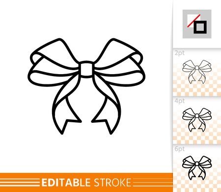 Bow single thin line icon. Ribbon flat banner. Gift design, present decoration linear pictogram. Simple illustration, outline symbol. Vector sign isolated on white. Editable stroke icons without fill
