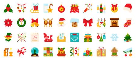 Christmas and New year flat icons set. Winter symbol in cartoon style. Holiday simple sign. Xmas pictogram collection. Color vector illustration isolated on white.