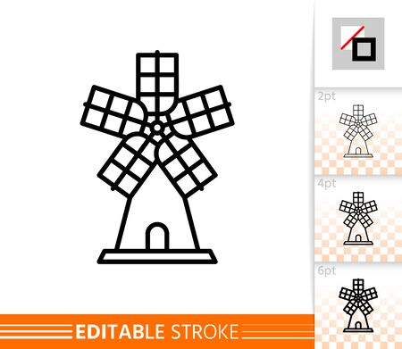 Windmill single line icon. Farm grain flour mill flat banner. Wind house poster. Gristmill linear pictogram. Simple outline symbol Isolated vector illustration sign, editable stroke icons without fill