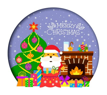 Merry Christmas greeting flat illustration and text card. Winter holiday poster design. Christmas tree, gifts, fireplace, santa 3d color banner. Xmas hand lettering Vector wishing inscription postcard  イラスト・ベクター素材