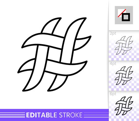 Hashtag single thin line icon. Hashtag flat banner. Social Media poster. Linear pictogram. Simple illustration, outline symbol. Vector sign isolated on white. Editable stroke icons without fill  イラスト・ベクター素材
