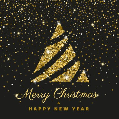 Merry Christmas Happy New year greeting flat illustration text concept card. Winter holiday gold glitter poster design. Christmas tree color banner. Xmas lettering Vector wishing inscription postcard  イラスト・ベクター素材