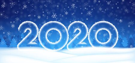 2020 number text happy New year banner. Winter christmas abstract blue snowflakes background. Xmas template card, poster. Happy season design wallpaper. Concept backdrop. Holidays vector illustration  イラスト・ベクター素材