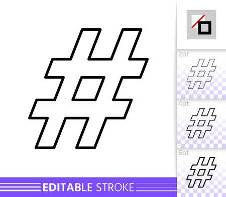 Hashtag single thin line icon. Social Media flat banner. Hash Tag poster. Linear pictogram. Simple illustration, outline symbol. Vector sign isolated on white. Editable stroke icons without fill  イラスト・ベクター素材
