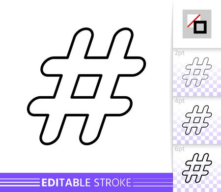 Hashtag single thin line icon. Hash Tag flat banner. Social Media poster. Linear pictogram. Simple illustration, outline symbol. Vector sign isolated on white. Editable stroke icons without fill