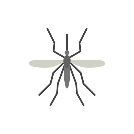 Mosquito single flat icon. Insect simple sign in cartoon style. Wildlife pictogram. Bite symbol. Entomology closeup color vector illustration isolated on white.
