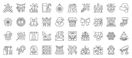 Christmas and New year thin line icon big set. Xmas collection of simple outline signs. Winter season symbol in linear style. Black contour flat icons design. Isolated concept vector Illustration  イラスト・ベクター素材