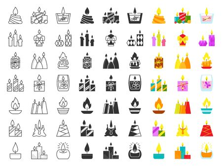 Candle bundle in line, flat, fill and glyph style. Black and color symbol flame. Light simple sign set. Cartoon outline pictogram clipart collection. Isolated icons, concept vector illustration
