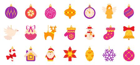 Christmas Tree decoration flat icons set. Simple toy symbol in cartoon style. Xmas Decor pictogram collection. Color vector illustration isolated on white.