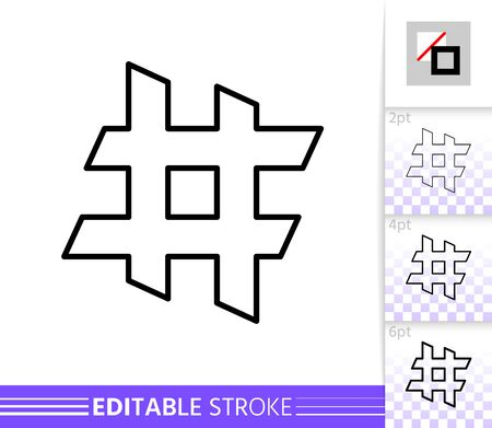 Hashtag single thin line icon. Hash Tag flat banner. Social Media poster. Linear pictogram. Simple illustration, outline symbol.  イラスト・ベクター素材