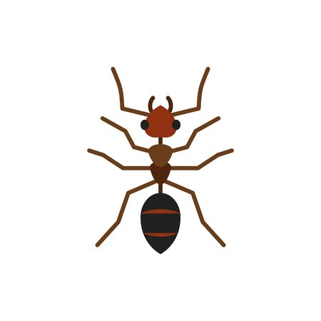Ant single flat icon. Insect simple sign in cartoon style. Wildlife pictogram symbol. Entomology closeup color vector illustration isolated on white.