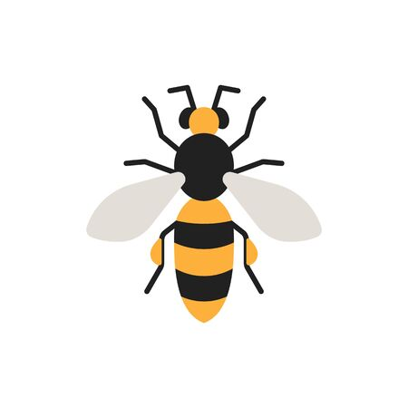 Honey Bee single flat icon. Wildlife simple sign in cartoon style. Insect pictogram symbol. Entomology closeup color vector illustration isolated on white.
